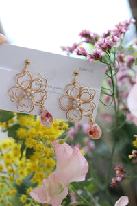 Sakura Three Layer Flower with Flower Drop Earrings