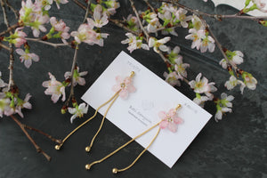 Small Sakura Earrings with Ball and Chain