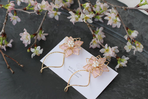 Sakura Pink Three Layer Flower with Wave Hoop Earrings