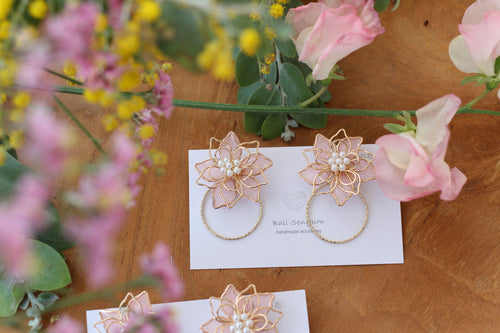 Sakura Pink Three Layer Flower with Hoop Earrings