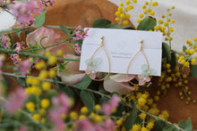 Teardrop Hoop Earrings with Hydrangeas - Spring Color