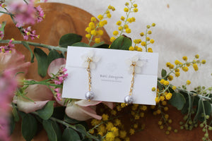 White Sakura Earrings with Japanese Cotton Pearl Chain