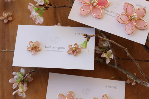 Small Two Layer Sakura Earrings