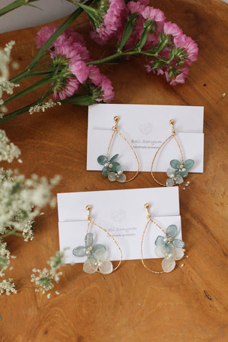 Teardrop Hoop Earrings with Green Hydrangeas