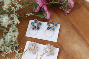 Light Blue Three Layer Flower with Hoop Earrings