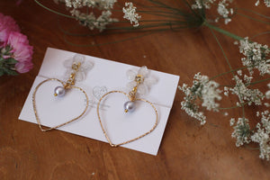 White Sakura Earrings with Heart Hoop