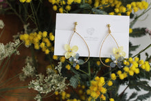 Teardrop Hoop Earrings with Yellow and Blue Hydrangeas - Limited item