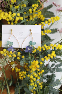 Teardrop Hoop Earrings with Blue and Light Green Hydrangeas - Limited item
