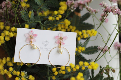 Pink Sakura Earrings with Hoop and Japanese Cotton Pearl