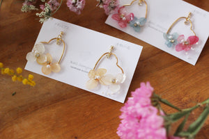 Heart Shaped Hoops with Real Hydrangea〜Spring 2020
