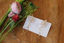 Two Layer Flower Earrings with Golden Streamers