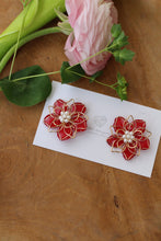 Red Three Layer Flower Earrings