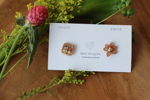 Brown Hydrangea and Flower Medallion Titanium Pierce