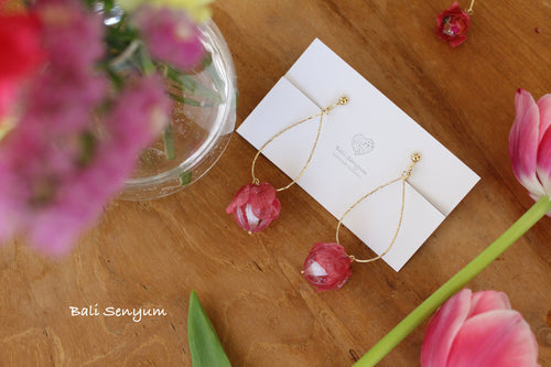Teardrop Hoops with Hanging Pink Hydrangea