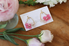 Heart Shaped Hoops with Real Pink & White Hydrangea
