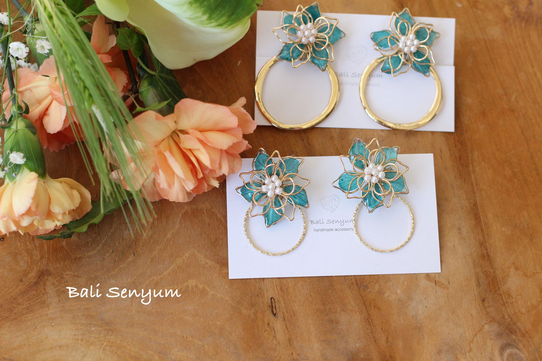 Aqua Three Layer Flower with Hoop Earrings