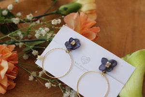 Navy Blue Hydrangea with Hoop No.5 (イヤリング)