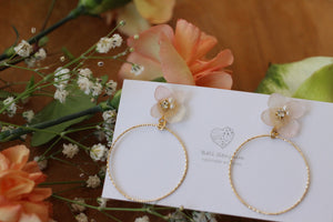 Translucent Pink Hydrangea with Hoop No.8 (メッキピアス)
