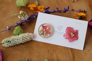 Hydrangea and Flower Medallion Gold Plated Pierce (メッキピアス)- No.28