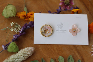Hydrangea and Flower Medallion Gold Plated Pierce (メッキピアス)- No.21