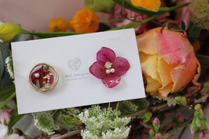 Hydrangea and Flower Medallion Gold Plated Pierce (メッキピアス)- No.8