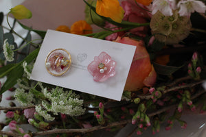 Hydrangea and Flower Medallion Gold Plated Pierce (メッキピアス)- No.9