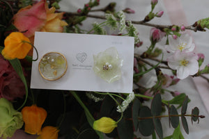 Hydrangea and Flower Medallion Gold Plated Pierce (メッキピアス)- No.27