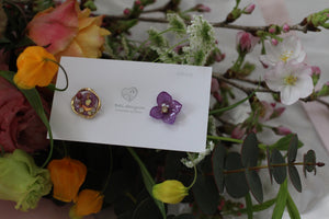 Hydrangea and Flower Medallion Gold Plated Pierce (メッキピアス)- No.14
