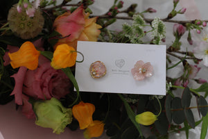 Hydrangea and Flower Medallion Gold Plated Pierce (メッキピアス)- No.15