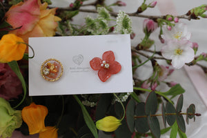 Hydrangea and Flower Medallion Gold Plated Pierce (メッキピアス)- No.25