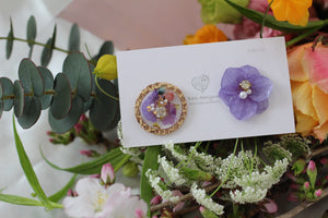 Hydrangea and Flower Medallion Gold Plated Pierce (メッキピアス)- No.4