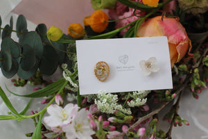 Hydrangea and Flower Medallion Gold Plated Pierce (メッキピアス)- No.1