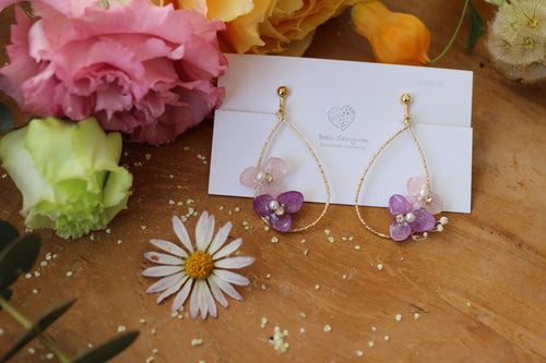 Teardrop Hoop Earrings with Purple Hydrangeas - Limited item
