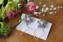 Blue Three Layer Flower with Wave Hoop Earrings No.2