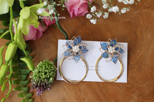 Blue Three Layer Flower with Hoop Earrings No.2