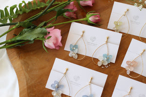 Teardrop Hoop Earrings with Hydrangeas No.2