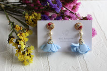 Floral Tassel Earrings with Cotton Pearls and Real Flowers