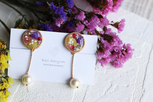 Ajisai Earring with Hanging Cotton Pearl