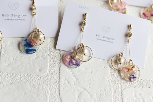 Floral Ring Earrings With Lightweight Cotton Pearls
