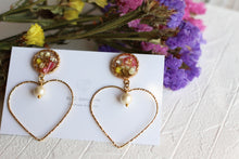 Heart-Shaped Hoop Earrings with Real Flowers & Cotton Pearls