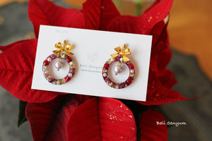Christmas Wreath Earring (White Christmas)
