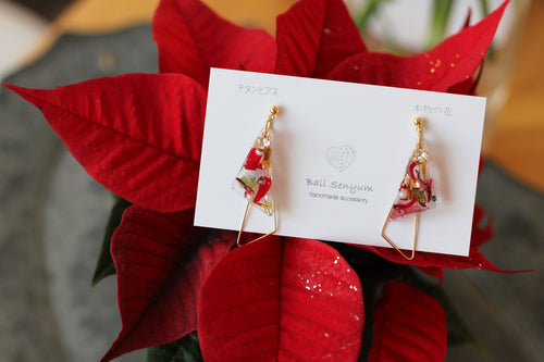 Triangular Floral Earrings - Christmas Special