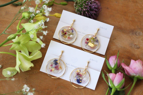 Hoop Earrings with Floral Medallions No.3