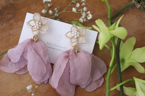 Two Layer Flower Earrings with Pink Chiffon Tassels