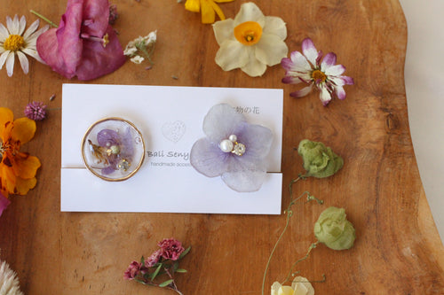 Hydrangea and Flower Medallion Gold Plated Clip-on (イヤリング)- No.35