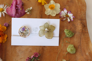 Hydrangea and Flower Medallion Gold Plated Clip-on (イヤリング)- No.36