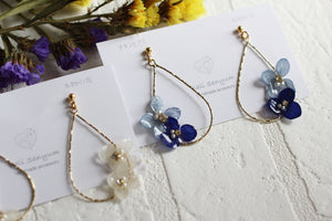 Teardrop Hoop Earrings with Hydrangeas
