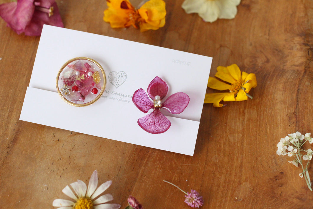 Hydrangea and Flower Medallion Gold Plated Clip-on (イヤリング)- No.38