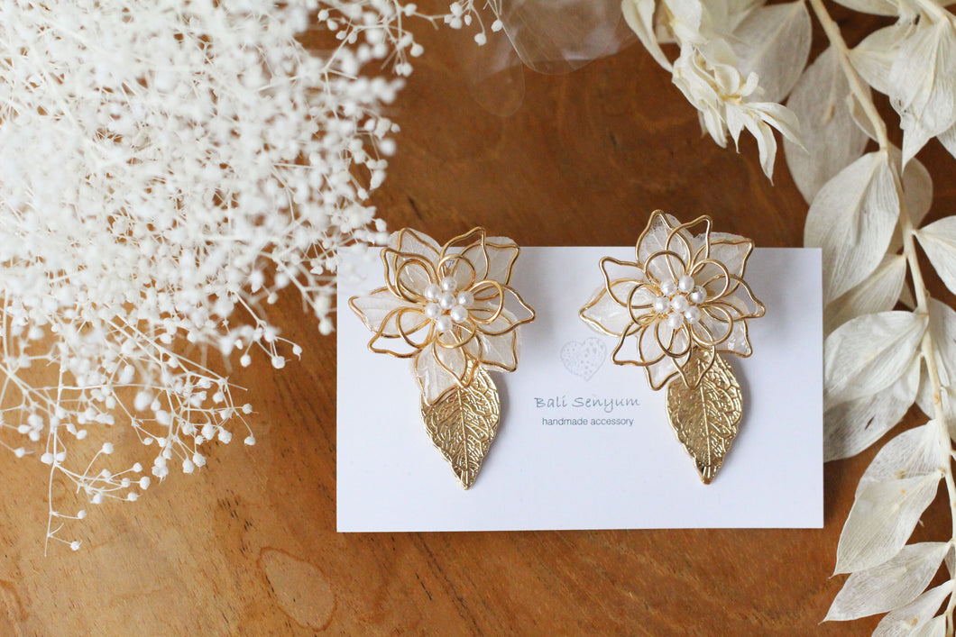 Three Layer Flower Earrings with Small Gold Leaf