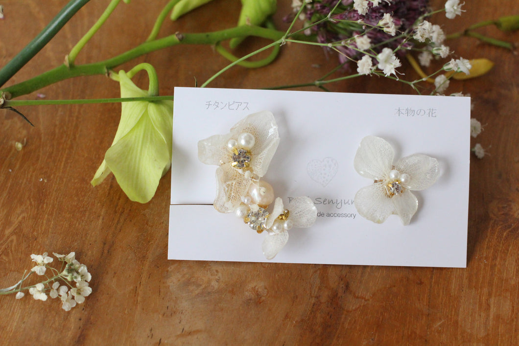 Asymmetrical Hydrangea Earrings - Clip On and Titanium pierce (チタンピアス) - No.2